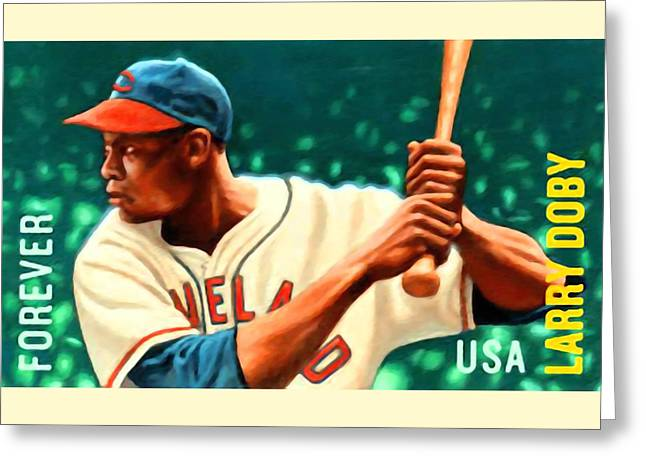 Batter Paintings Greeting Cards - Larry Doby Greeting Card by Lanjee Chee
