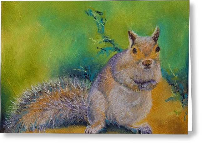 Ground Pastels Greeting Cards - Larry Greeting Card by Tracy L Teeter