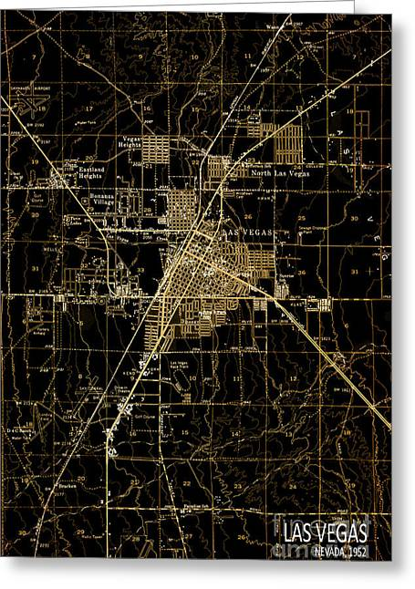 Bedroom Art Greeting Cards - Las Vegas 1952 Brown Old Map Greeting Card by Pablo Franchi