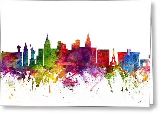 Las Vegas Drawings Greeting Cards - Las Vegas Cityscape 06 Greeting Card by Aged Pixel