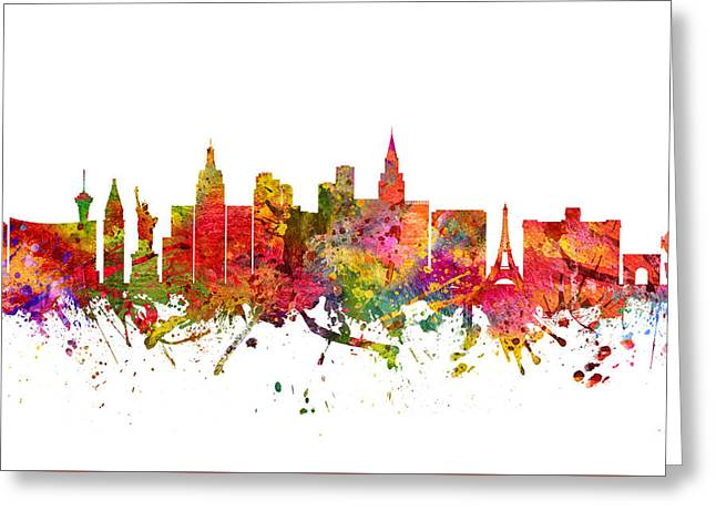 Las Vegas Drawings Greeting Cards - Las Vegas Cityscape 08 Greeting Card by Aged Pixel
