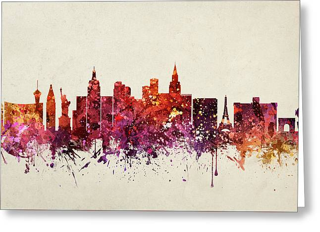 Las Vegas Drawings Greeting Cards - Las Vegas Cityscape 09 Greeting Card by Aged Pixel