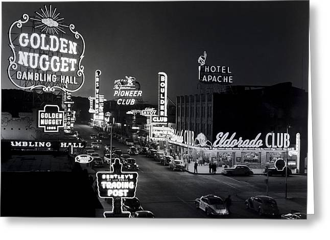 Las Vegas Fremont Street C. 1947 Greeting Card by Daniel Hagerman