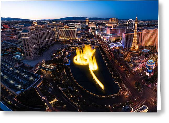 Bellagio Greeting Cards - Las Vegas Glitter Greeting Card by Steve Gadomski