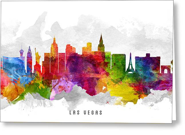 Las Vegas Nevada Cityscape 13 Greeting Card by Aged Pixel