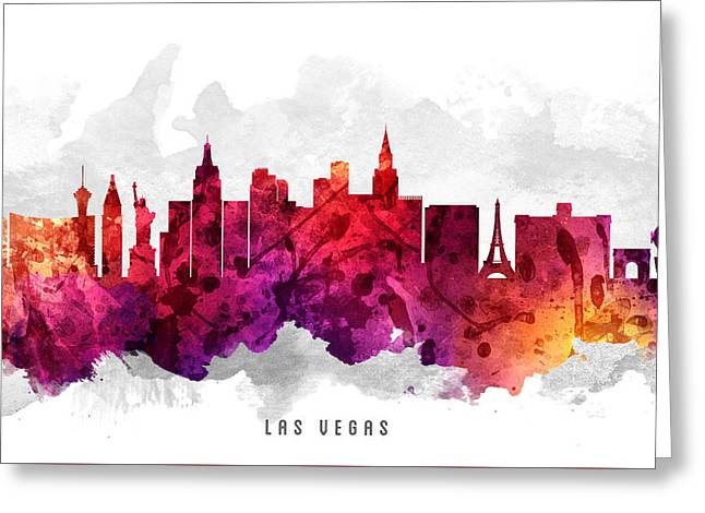 Las Vegas Greeting Cards - Las Vegas Nevada Cityscape 14 Greeting Card by Aged Pixel