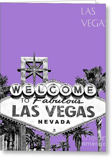 Las Vegas Sign - Purple Greeting Card by DB Artist