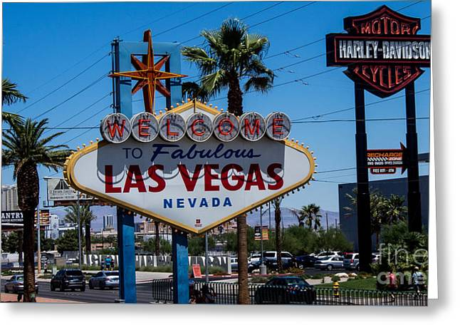 Playing Cards Greeting Cards - Las Vegas Sign Greeting Card by Super Jolly