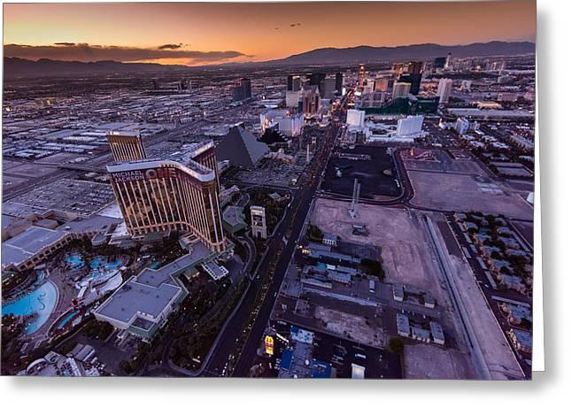 Pyramids Greeting Cards - Las Vegas Strip Aloft Greeting Card by Steve Gadomski