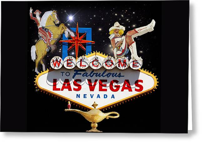 Las Vegas Mixed Media Greeting Cards - Las Vegas Symbolic Sign Greeting Card by Gravityx9  Designs