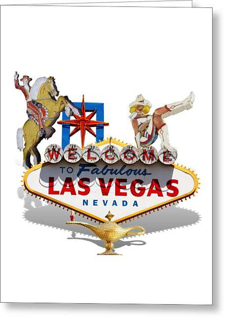 Las Vegas Mixed Media Greeting Cards - Las Vegas Symbolic Sign on White Greeting Card by Gravityx9 Designs