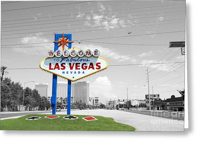 Travelpixpro Greeting Cards - Las Vegas Welcome Sign Color Splash Black and White Greeting Card by Shawn O