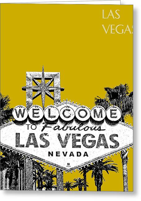 Las Vegas Art Greeting Cards - Las Vegas Welcome to Las Vegas - Gold Greeting Card by DB Artist