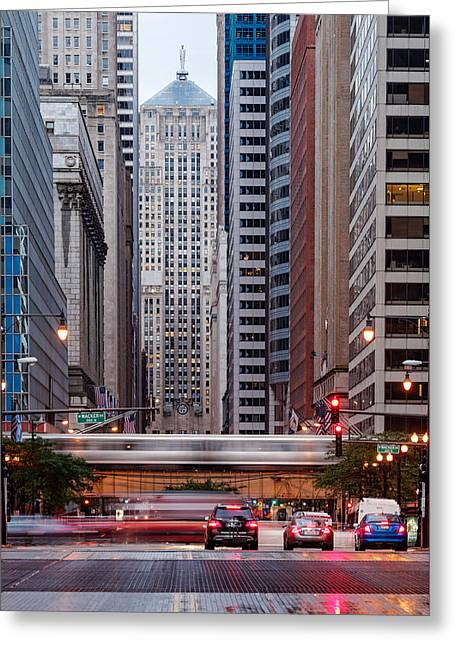 Christian Bale Greeting Cards - LaSalle Street Canyon With Chicago Board of Trade Building at the South Side II - Chicago Illinois Greeting Card by Silvio Ligutti