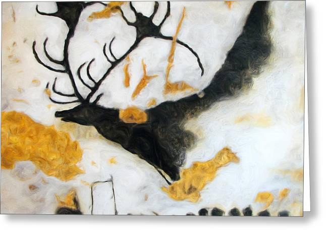 Lascaux Megaceros Deer Greeting Card by Weston Westmoreland