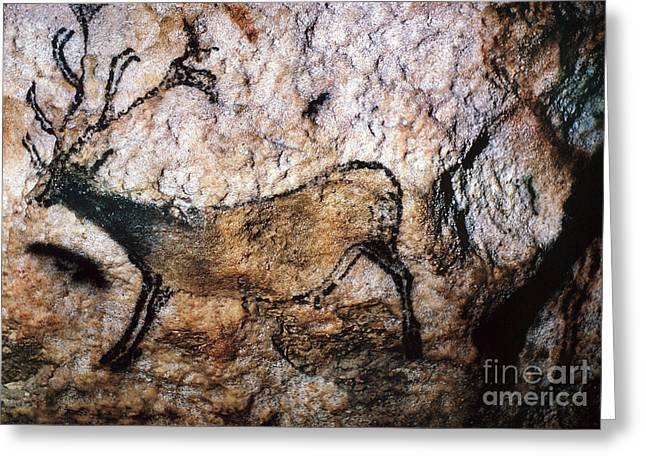 Paleolithic Greeting Cards - Lascaux: Running Deer Greeting Card by Granger