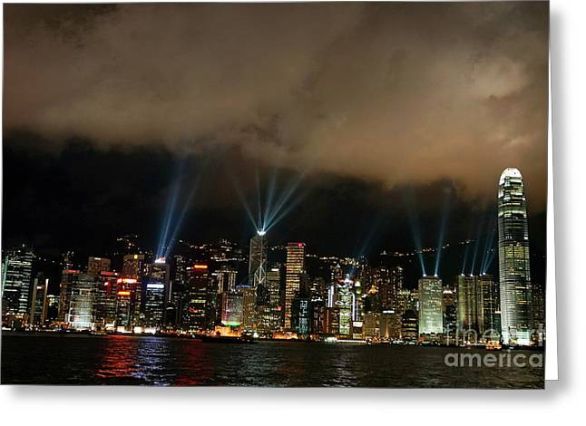Kowloon Greeting Cards - Laser show over city at night Greeting Card by Sami Sarkis