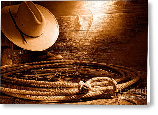 Lasso In Old Barn - Sepia Greeting Card by Olivier Le Queinec