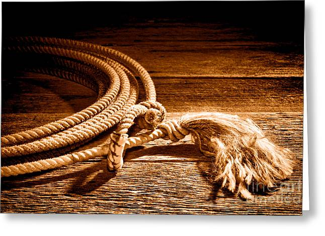 Lasso - Sepia Greeting Card by Olivier Le Queinec