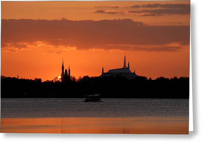 Cinderellas Castle Greeting Cards - Last boat on Bay Lake Greeting Card by David Lee Thompson