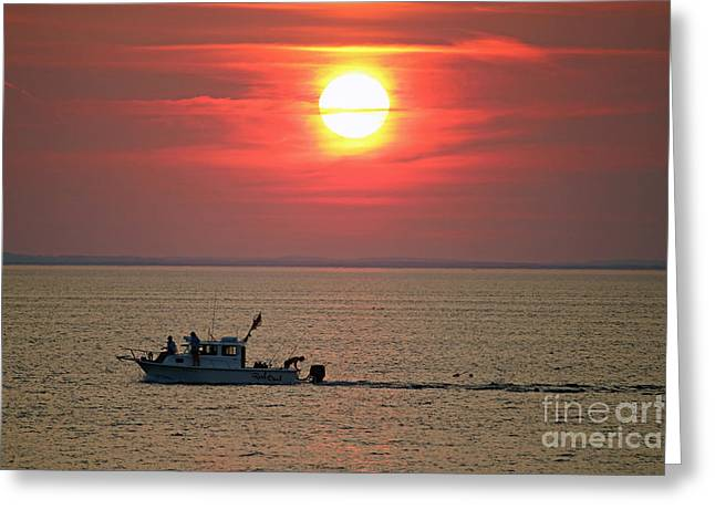 New England Ocean Greeting Cards - Last Cast Greeting Card by Steve  Gass