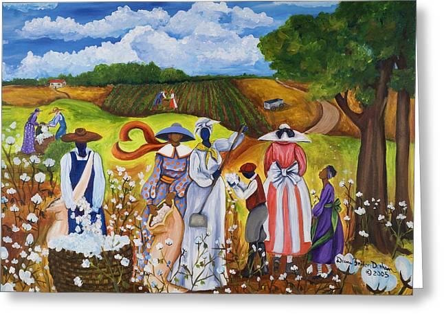Gullah Greeting Cards - Last Cotton Field Greeting Card by Diane Britton Dunham
