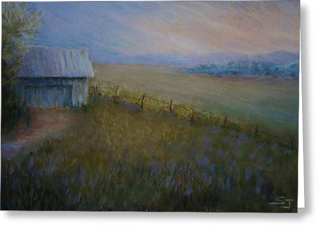Ranch Pastels Greeting Cards - Last Farm Light Greeting Card by Susan Jenkins