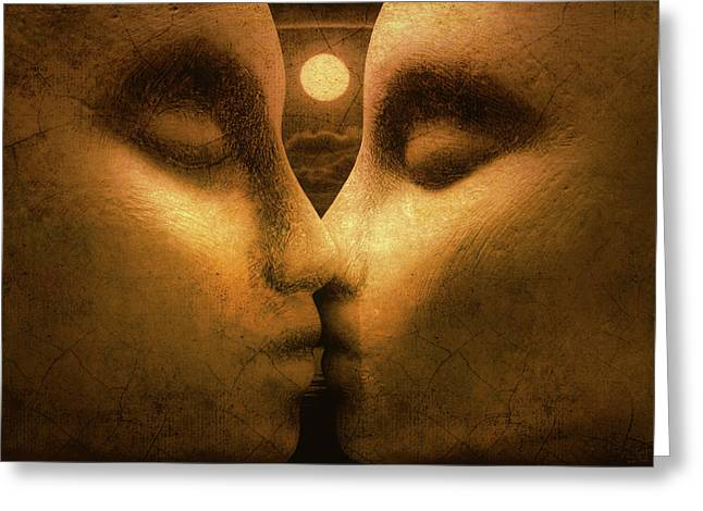 Moon Kiss Greeting Card by Jeff  Gettis