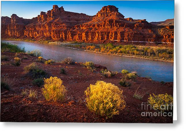 Eroded Greeting Cards - Last Light at San Juan River Greeting Card by Inge Johnsson