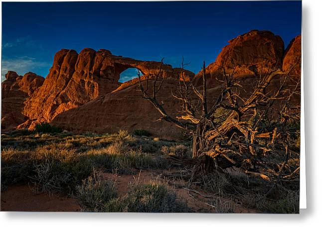 Skyline Arch Greeting Cards - Last Light at Skyline Arch Greeting Card by Rick Berk