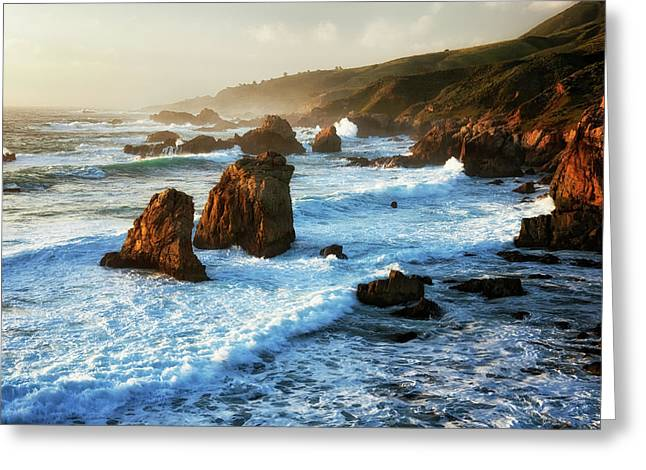 Last Light Bathes The Pounding Surf At California's Garrapata State Park. Greeting Card by Larry Geddis