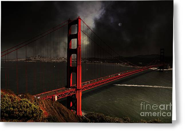Steel Construction Greeting Cards - Last Light Beyond The Golden Gate . 7D14507 Greeting Card by Wingsdomain Art and Photography