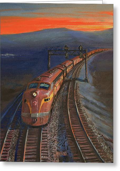 Diesel Locomotives Greeting Cards - Last Light Greeting Card by Christopher Jenkins