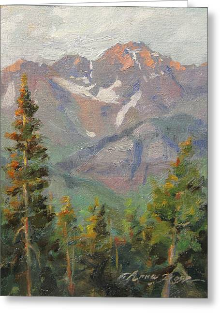 Colorado Greeting Cards - Last Light in Mountain Village Plein Air Greeting Card by Anna Bain