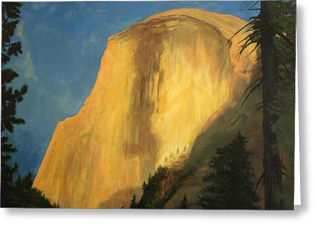 Half Dome Paintings Greeting Cards - Last Light Greeting Card by Jill Iversen