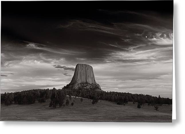 Wyoming Greeting Cards - Last Light On Devils Tower BW Greeting Card by Steve Gadomski
