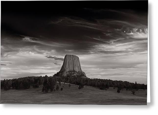 Last Light On Devils Tower Bw Greeting Card by Steve Gadomski