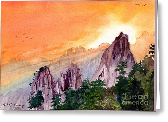 Sun Rays Paintings Greeting Cards - Morning Light On The Mountain Greeting Card by Melly Terpening