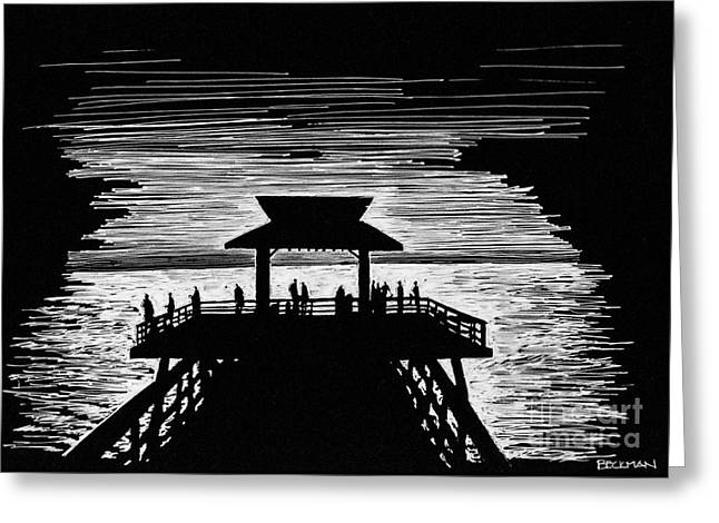 Naples Drawings Greeting Cards - Last light on the pier Greeting Card by Samuel Beckman