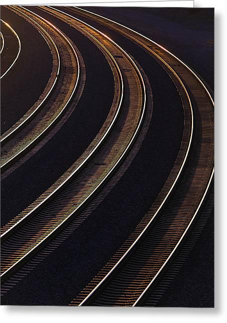 Railroad Railroad Tracks Greeting Cards - Last light On The Train Tracks Greeting Card by Garry Gay