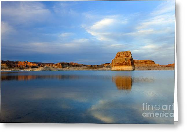 Powell Greeting Cards - Last Light over Lake Powell Greeting Card by Mike Dawson