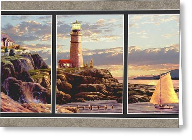 Last Light Split Image Greeting Card by Ron Chambers