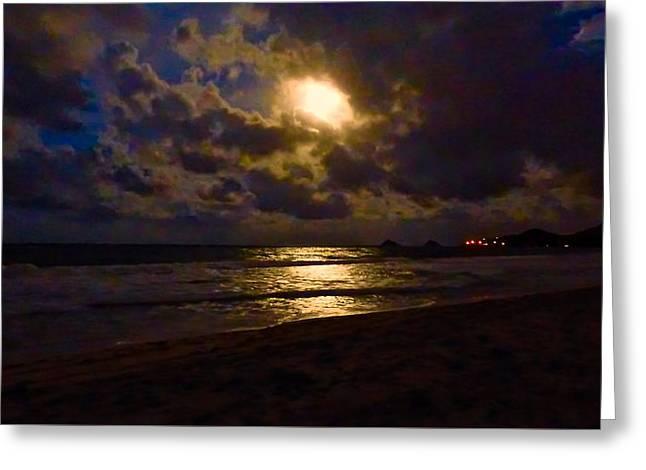 Sea Moon Full Moon Greeting Cards - Last Moonscape Greeting Card by Robert Abbett