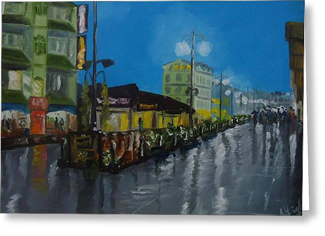 Night Lamp Greeting Cards - Last night in Gangtok Sikkim Greeting Card by Anil Singh