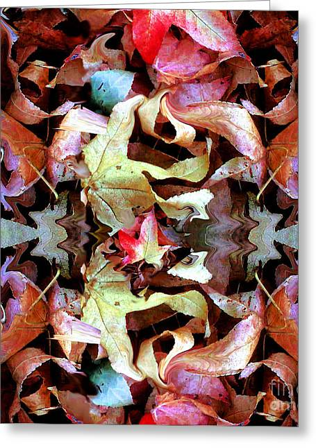 Fallen Leaf Mixed Media Greeting Cards - Last of the Leaves Greeting Card by Marcy  Orendorff