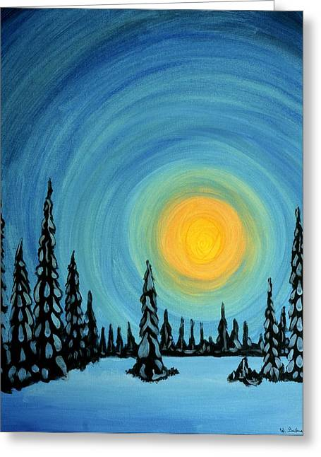 Snowy Night Greeting Cards - Last of Winter Greeting Card by WIlliam Gushue