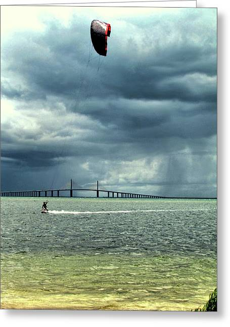 Last Run Before The Storm Greeting Card by John Trommer
