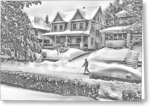 Road Covered With Snow Greeting Cards - Last Snow for Montclair 2015 Greeting Card by Kellice Swaggerty