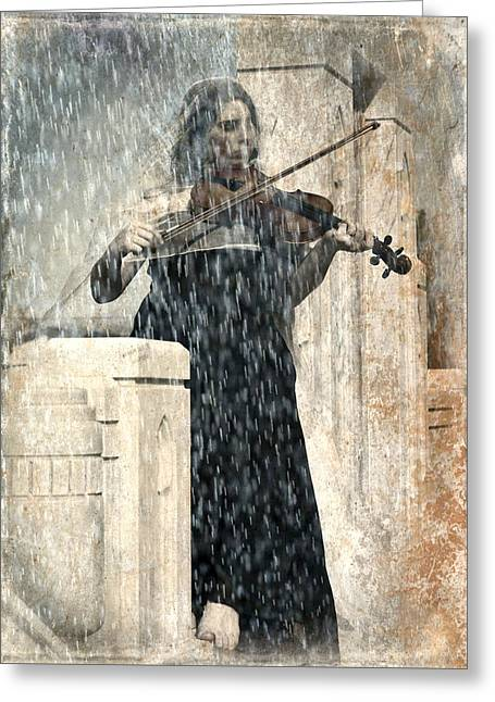 Last Song Girl With Violin Greeting Card by Pamela Patch