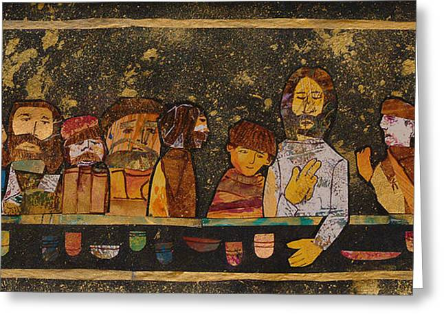 Last Supper Mixed Media Greeting Cards - Last Supper 2 Greeting Card by Carol Cole
